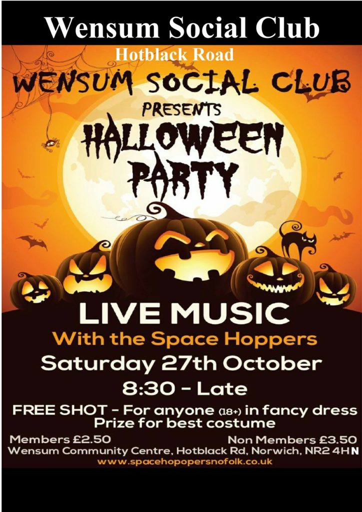 Halloween bash Wensum Community Centre October 27th